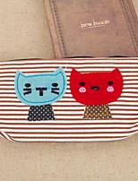 милый мультфильм кошка холст пенал канцелярских сумки для студентов (случайный цвет)