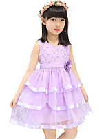 Girl's Casual/Daily Floral DressPolyester Summer Pink / Purple