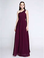 Lanting Bride®Floor-length Chiffon Bridesmaid Dress - Elegant Sheath / Column One Shoulder with Criss Cross