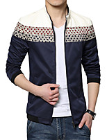 Men's Fashion Slim Stand Collar Spell Color Jacket,Cotton / Polyester Color Block Blue / Green / Red