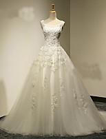 A-라인 웨딩 드레스 스윕 / 브러쉬 트레인 스쿱 튤 와 아플리케 / 비즈 / 크리스탈 / 진주