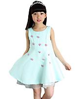 Vestido Chica de-Noche-Floral-Algodón / Otros-Verano-Verde / Rosa / Blanco