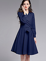 Boutique S Going out /Daily / Holiday Sexy /Cute Sheath Dress,Solid Shirt Collar Knee-length Long Sleeve Blue