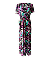 Women's Plus Size / Casual/Daily Vintage Loose Dress,Print V Neck Maxi Short Sleeve Green Acrylic / Polyester Summer