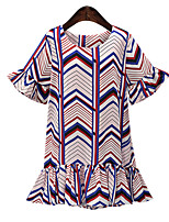 Women's Going out / Plus Size Vintage / Cute Loose Dress,Print Round Neck Above Knee Short Sleeve Blue Polyester Summer Mid Rise Inelastic