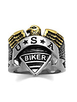 New Arrival US American Biker Ring For Men Highly Polished 316 Stainless Steel Rings Lead & Free Gold Plated Anti Black