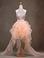 Cocktail Party Dress Ball Gown High Neck Asymmetrical Organza with Beading / Sash / Ribbon
