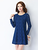 Women's Plus Size/Going out Lace Dress,Round Neck Above Knee Long Sleeve Blue/Red/White/Black Rayon /Polyester Fall