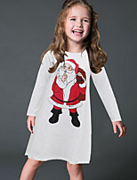Girl's Party/Cocktail Print DressPolyester Winter / Fall White
