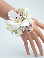 Wedding Flowers Hand-tied Peonies Wrist Corsages Wedding White / Purple Polyester / Tulle
