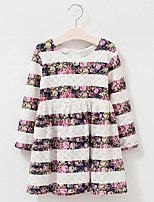 Girl's Cotton Spring/Autumn Sweet Lace Flower Long-sleeve Stripe Princess Dress