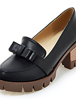 Women's Shoes Spring/Summer/Fall/Winter Heels/Platform/Round Toe Dress/Casual Chunky Heel Bowknot Black