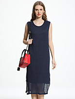 ADEAST Women's  Simple Loose Dress,Solid Round Neck Midi Sleeveless Blue / Red / White / Black Linen Summer
