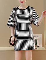 Maternity Going out /  Simple Shift Dress,Striped Round Neck Above Knee ½ Length Sleeve Red / Black Cotton Summer