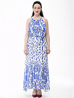 Women's Plus Size Boho Swing Dress,Print Strap Maxi Sleeveless Blue Cotton / Polyester Summer