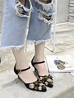 Women's Sandals Spring / Summer / Fall Sandals Fleece Casual Low Heel Flower Black / Green / Gray Others