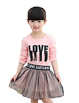 Girl's Casual/Daily Patchwork Dress / Clothing Set,Rayon Spring / Fall Pink / White / Yellow