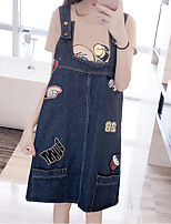 Women's Plus Size / Going out / Cute Denim / Chiffon Dress,Print Strap Knee-length Sleeveless Blue Cotton Summer