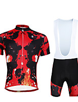 Cycling PaladinSport Men Shirt + Straps Shorts Suit BKT 701 Red  Rock Skeletons