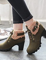 Women's Boots Fall / Winter Riding Boots / Fashion Boots Leather Outdoor / Casual Chunky Heel Lace-up
