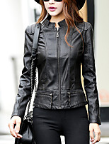 Women's Going out Street chic Fall Leather Jackets,Solid Stand Long Sleeve Red / Black PU Medium