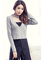 Women's Going out Sexy Regular Pullover,Solid Black / Gray V Neck Long Sleeve Cotton / Polyester Spring / Fall
