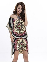 In Farbe Damen Rundhalsausschnitt Kurze Ärmel Maxi Kleid-4515