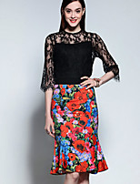 Mary Yan & Yu  Women's Going out Sophisticated Summer Set,Print Crew Neck ½ Length Sleeve Black Polyester Thin