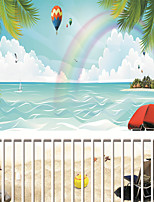 JAMMORY Wallpaper For Home Wall Covering Canvas Adhesive required Mural Sandy Cartoon Seascape 3XL(14'7''*9'2'')