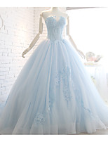Ball Gown Wedding Dress Sweep / Brush Train Strapless Organza with Appliques