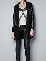 Women's Casual/Daily Street chic Coat,Solid Stand Long Sleeve Winter Black Wool / Polyester Thick