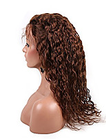 EVAWIGS 10-26 Inch 4# Medium Brown Color  Loose Curly  Peruvian Virgin Human Hair Full Lace Wig   With Baby Hair