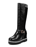 Women's Shoes Winter Snow Boots / Riding Boots / Round Toe Boots Casual Wedge Heel Buckle / Split JointBlack / Red /