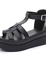 Women's Shoes Patent Leather Summer Peep Toe / Creepers / Comfort Sandals Casual Wedge Heel Hollow-out Black / White