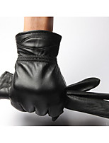 Men'S Leather Gloves Thick Warm Winter Motorcycle Gloves