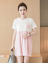 Maternity Casual/Daily Cute Loose Dress,Solid / Patchwork Round Neck Above Knee Short Sleeve Pink Cotton Summer