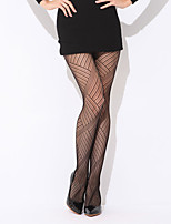Women Thin Argyle Printing Hollow  Pantyhose Fishnet Stockings Office White-collar Socks