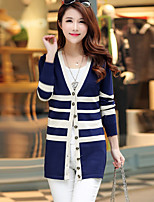 Women's Casual/Daily Simple Long Cardigan,Striped Blue / Beige / Yellow V Neck Long Sleeve Rayon Winter Medium