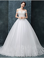 Ball Gown Wedding Dress Chapel Train Off-the-shoulder Tulle with Appliques / Beading / Ruffle