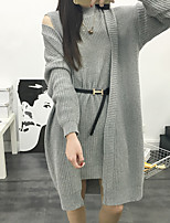 Women's Casual/Daily Simple Long Cardigan,Solid Gray Crew Neck Long Sleeve Cotton Winter Medium Micro-elastic