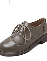 Women's Oxfords Fall Creepers / Round Toe PU Casual Platform Lace-up Green / Almond Others