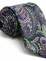 For Men 100% Silk Multicolor Green Mauve Casual Men's Necktie Tie Jacquard Woven
