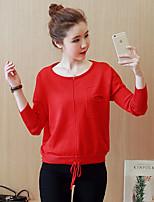 Damen Standard Pullover-Lässig/Alltäglich Einfach Solide Rot / Schwarz / Braun Rundhalsausschnitt Langarm Baumwolle Frühling Mittel