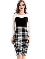 Women's Plus Size / Casual/Daily / Work Street chic Bodycon DressCheck Round Neck Knee-length Long Sleeve