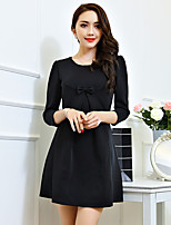 Women's Plus Size / Going out Simple Sheath Dress,Solid Round Neck Above Knee Long Sleeve Red / Black Polyester Fall
