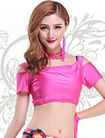Belly Dance Tops Women's Training Chinlon Pleated 1 Piece Fuchsia / Green Belly Dance Short Sleeve Natural Top