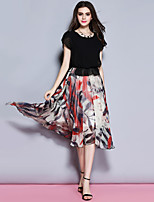 Sybel Women's Going out /  Street chic Sheath Dress,Patchwork Round Neck Midi Short Sleeve Black Polyester