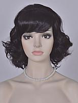 peluca corta negro de la manera pelucas onda de Europa y América las mujeres pelucas sintéticas cortas
