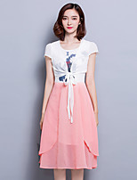 Women's Going out Street chic A Line Dress,Patchwork Round Neck Knee-length Short Sleeve  Gray Polyester Summer