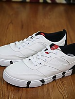 Men's Sneakers Fall Comfort / Round Toe PU Casual Flat Heel Lace-up Black / Green / Red / Gray Others